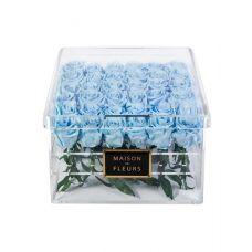 36 Long Life Aqua Blue Roses in a Clear Acrylic Square box 30x30cm