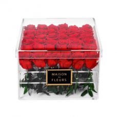36 Long Life Red Roses in a Clear Acrylic Square box 30x30cm