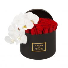 41 Red Roses With 1 White Orchid Stem In a large Black round Box