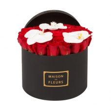 41 Red Roses With 3 White Orchid Bloom In a Black large round Box