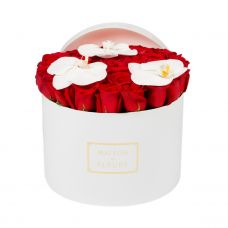 41 Red Roses With 3 White Orchid Bloom In a White round Box