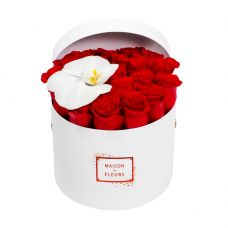 21 roses and 1 Orchid bloom in a medium White limited edition round box