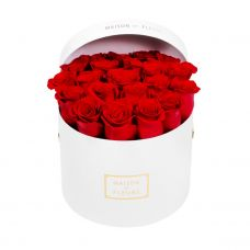 Red roses in a White medium round box