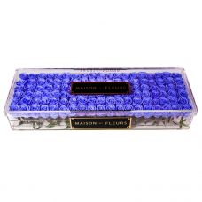 114 long life blue roses in acrylic clear large rectangular box