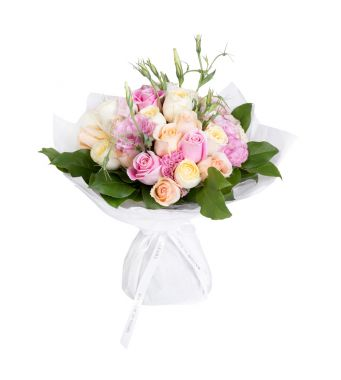 Pastel Roses and Mixed Fresh Flowers Bouquet