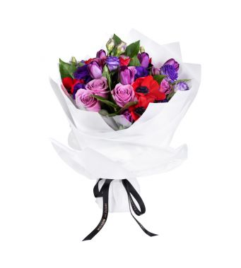 Purple Tulips, Lily Roses and Mixed Fresh Flowers Bouquet