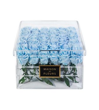 36 Long Life Aqua Blue Roses in a Clear Acrylic Square box 30x30cm
