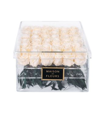 36 Long Life Cream Roses in a Clear Acrylic Square box 30x30cm