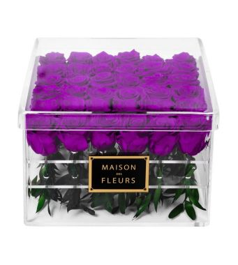 36 Long Life Dark Purple Roses in a Clear Acrylic Square box 30x30cm