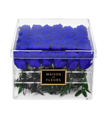 36 Long Life Ocean Blue Roses in a Clear Acrylic Square box 30x30cm