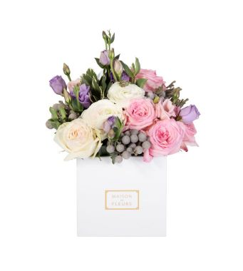 Ohara Roses with Ranunculus and Brunia Fresh Flowers Arrangement in a 15 cm White Square Box