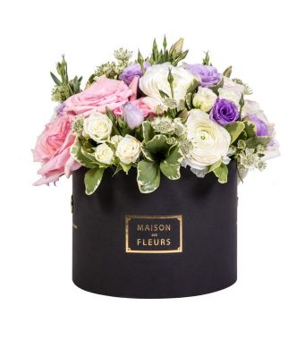White Ranunculus with Pink and Purple Mixed Fresh Flowers in a 20x15cm Black Round Box