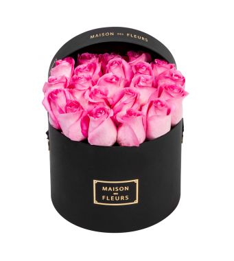 Aqua pink roses in 20x15cm Black Round MDF Box