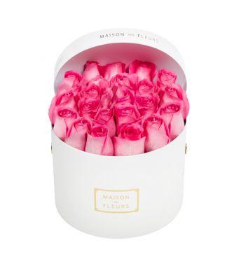 Aqua pink roses in 20x15cm White Round MDF Box