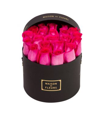 Fushia Roses in 20x15cm Black Round MDF Box