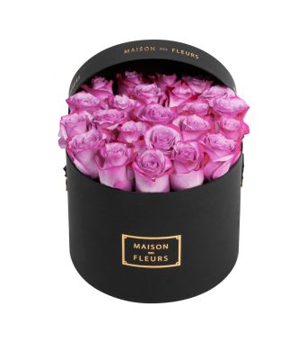 Lila Roses in 20x15cm in Black Round MDF Box