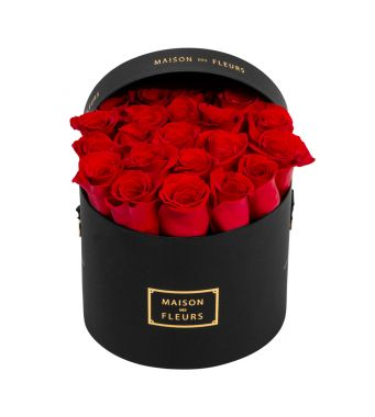 Red Roses in 20x15cm Black Round MDF Box