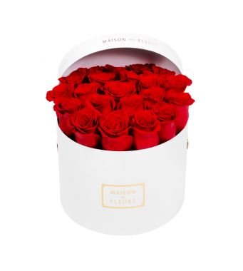 Red Roses in 20x15cm White Round MDF Box