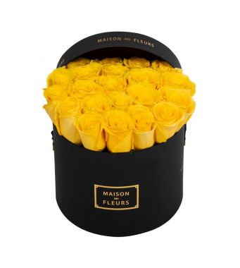 Yellow Roses in 20x15cm Black Round MDF Box