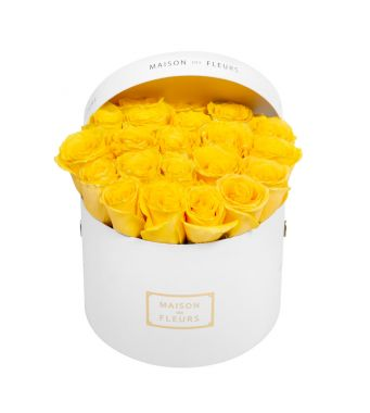 Yellow Roses in 20x15cm White Round MDF Box