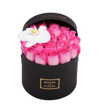 Aqua Pink Roses and White Orchid Bloom in 20x15cm Black Round MDF Box