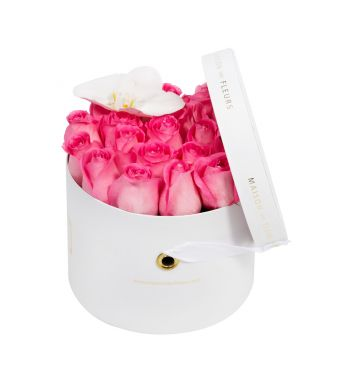 Aqua Pink Roses and White Orchid Bloom in 20x15cm White Round MDF Box