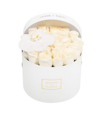 Creme Roses and White Orchid Bloom in 20x15cm White Round MDF Box