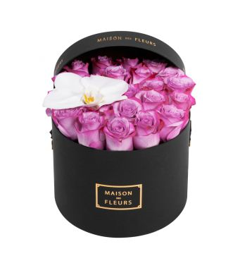 Lila Roses and White Orchid Bloom in 20x15cm Black Round MDF Box