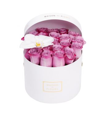 Lila Roses and White Orchid Bloom in 20x15cm White Round MDF Box