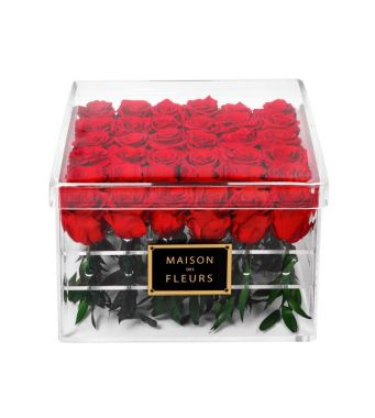 36 Long Life Roses In A 30 Cm Square Acrylic Box