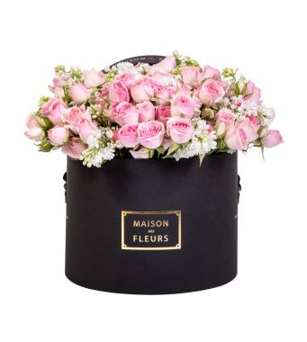 Pink Spray Roses in a 20x15 CM Round Black Box