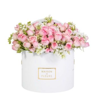 Pink Spray Roses in a 20x15 CM Round White Box