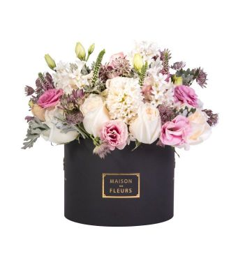 White Ohara Roses With Hyacinths And Other Mixed Fresh Flowers In A 20x15cm Black Round Box