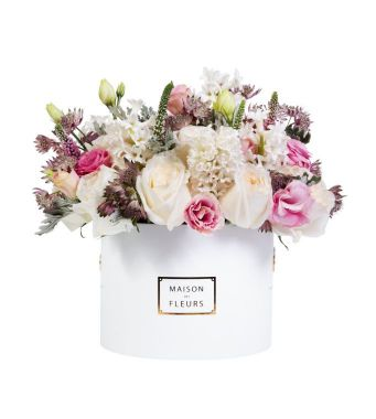 White Ohara Roses With Hyacinths And Other Mixed Fresh Flowers In A 20x15cm White Round Box