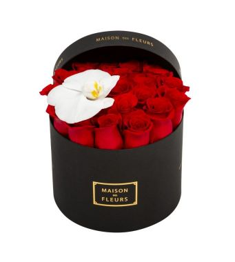 21 Roses And 1 Orchid Bloom In A 20 Cm Black Round Box