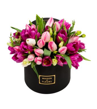 Pink and Purple Tulips in 20x15cm Black Round MDF Box