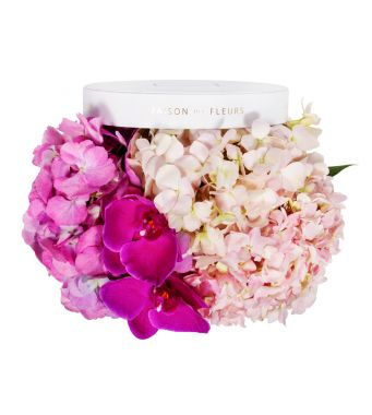 Pink and Fushia Hydrangea and Fushia Orchid Blooms in 20x15cm White Round MDF Box