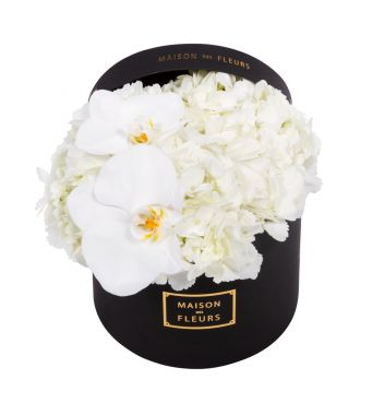 White Hydrangea and White Orchid Blooms in 20x15cm Black Round MDF Box