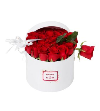 21 Red Roses And 1 Long Rose In A 20 Cm White Round