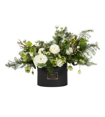 Festive Collection Winter arrangement with White Ranunculus and Helleborus in a 20 cm black round box