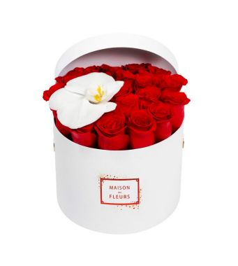 21 Roses And 1 Orchid Bloom In A 20 Cm Round Limited Edition Box