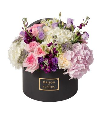 White and Pink Ohara Roses with Mixed Fresh Flowers Arrangement in a 30x20cm Black Round Box