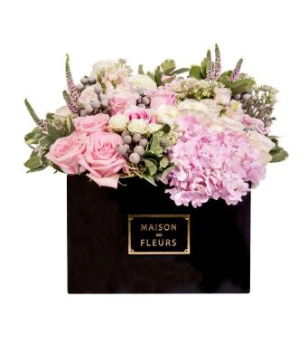 Mixed Pink And White Fresh Flowers Arrangement In A 30x20cm Black Square Box