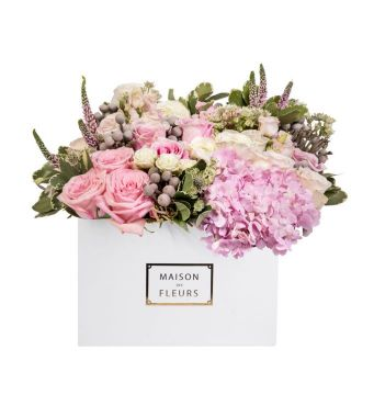 Mixed Pink And White Fresh Flowers Arrangement In A 30x20cm White Square Box