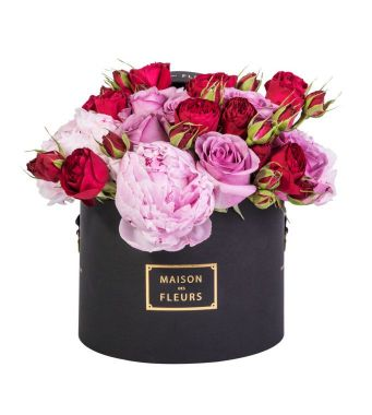 A Mix Of Pink Peonies With Purple And Red Roses In A 20x15cm Black Round Box