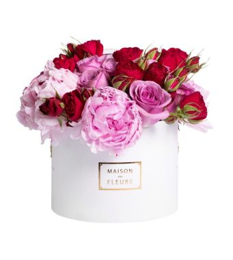 A Mix Of Pink Peonies With Purple And Red Roses In A 20x15cm White Round Box
