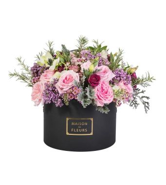 Mixed Fresh Flowers Arrangement With Pink Ohara In A 30x20cm Black Round Box