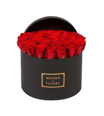 40 Red Roses In A 30 Cm Black Round Box
