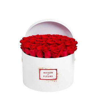 40 Red Roses In A 30 Cm Round Limited Edition Box