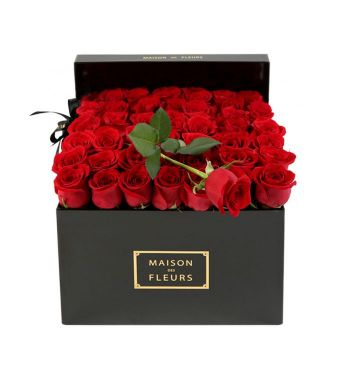49 Red Roses And 1 Long Rose In A 30 Cm Black Square Box